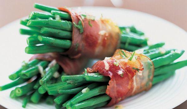 6 fagots de haricots verts bardés poitrine porc