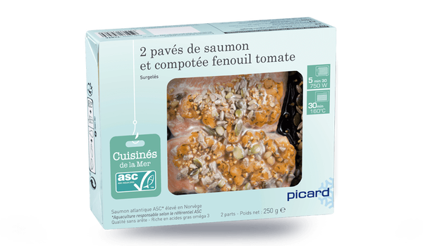 2 pavés de saumon et compotée fenouil tomate ASC