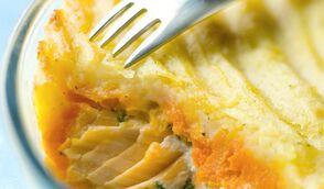 Gratin de poissons à la carotte et pomme de terre