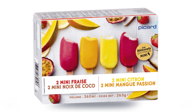 8 mini-bâtonnets sorbet divers enrobage fruits