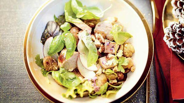 Salade de boudin blanc aux marrons et noisettes