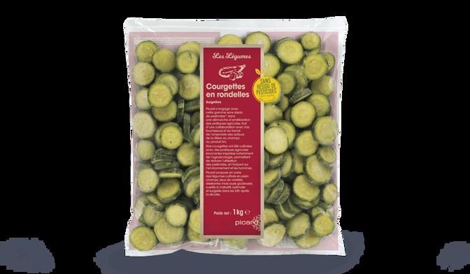 Courgettes rondelles sans résidu de pesticides