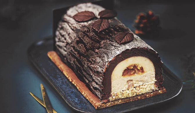Bûche glacée bonheur, Hélène Darroze, chocolat - agrumes - marron