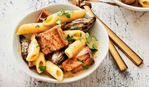 Macaronade au foie gras de canard et aux morilles