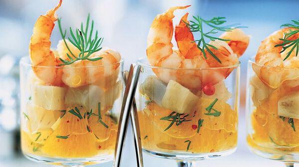 Verrine d'artichaut aux agrumes et crevettes