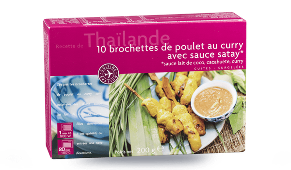10 brochettes de poulet au curry avec sauce satay