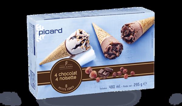 8 petits cônes chocolat et noisette
