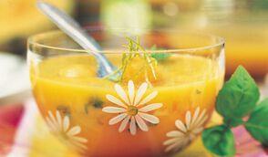 Soupe glacée de melon et mangue au citron vert