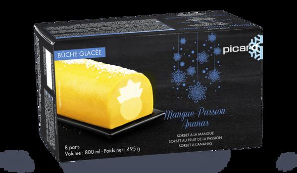 Bûche glacée mangue-passion- ananas, 8 parts