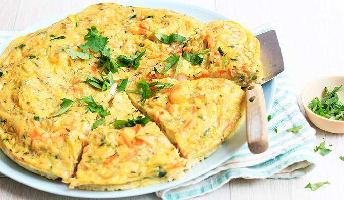 Tortilla aux crevettes et légumes bio