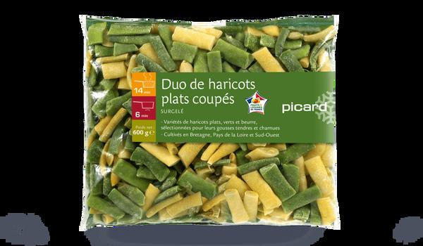 Duo haricots plats verts et beurre, coupés, France