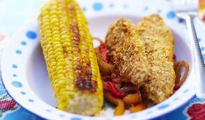 Croustillants de poulet au citron, maïs et poivre.