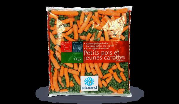 Petits pois doux extra-fins et jeunes carottes