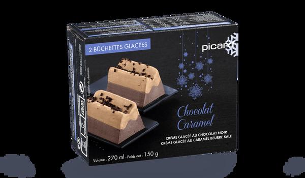 2 bûchettes glacées chocolat-caramel