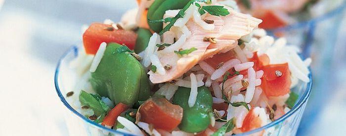 Salade de riz au saumon et à l'anis