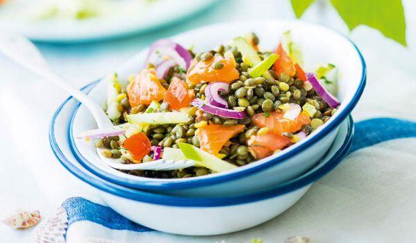 Salade de lentilles et saumon fumé