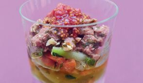 Salade de canard et légumes aux figues en verrine