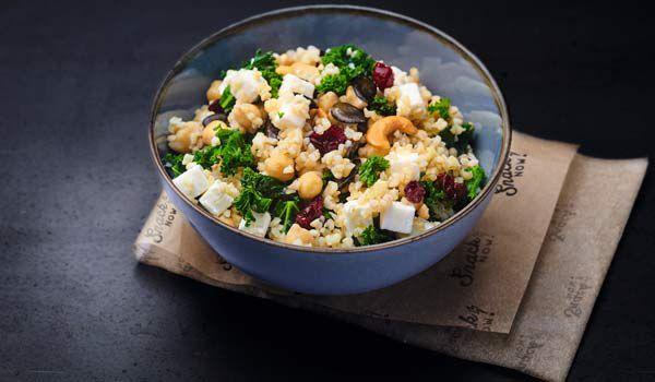Salade boulghour-chèvre- chou kale- cranberrie