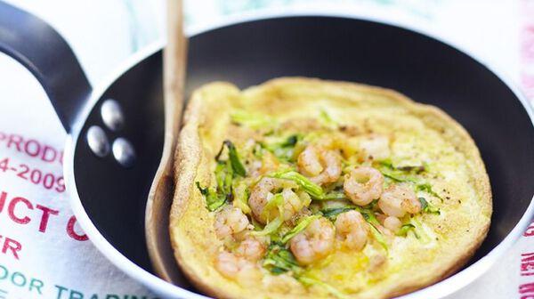 Omelette aux crevettes et au cheddar
