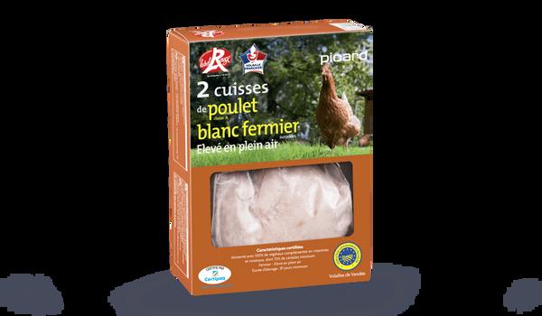 2 cuisses de poulet blanc fermier, Label Rouge