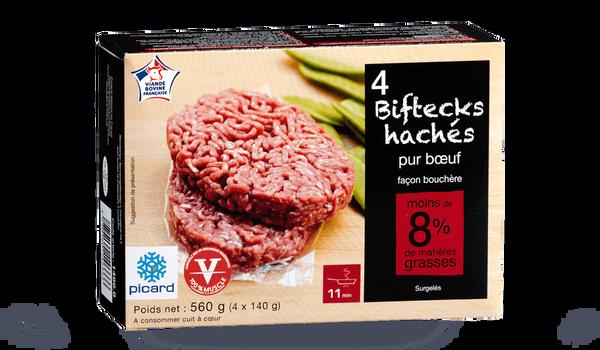 4 biftecks hachés (140g), pur boeuf, 8% M.G maxi