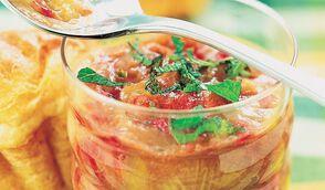 Compote de rhubarbe, framboise, miel et menthe