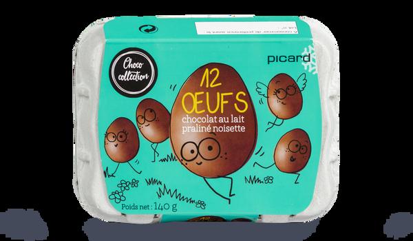 12 oeufs chocolat au lait praliné noisette
