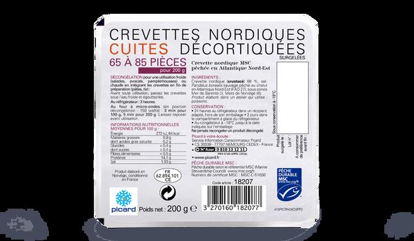 Crevettes nordiques cuites déco MSC 65-85/200g