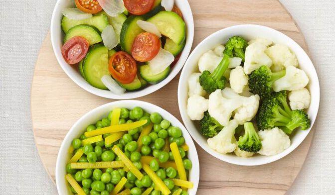 3 mélanges de légumes vapeur courgettes, tomates cerise, oignons/petits