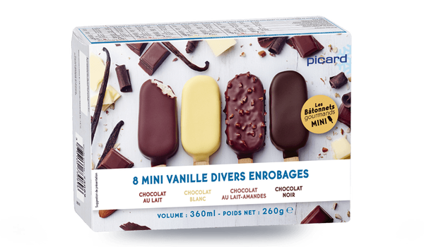 8 mini-bâtonnets vanille-divers enrobages chocolat