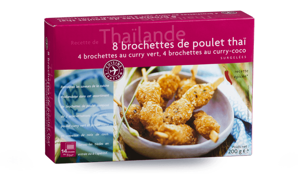 8 brochettes de poulet thaï