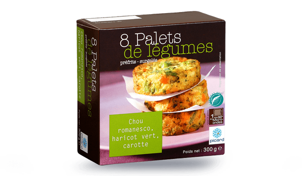 8 palets de légumes chou romanesco, haricot vert