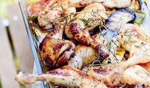 Poulet aux légumes grillés