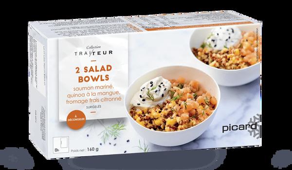 2 salad Bowls, saumon mariné, quinoa, fromage