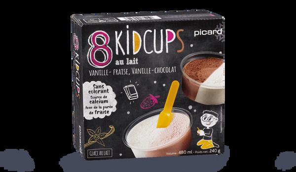 8 Kidcups, 4 vanille-fraise, 4 vanille-chocolat