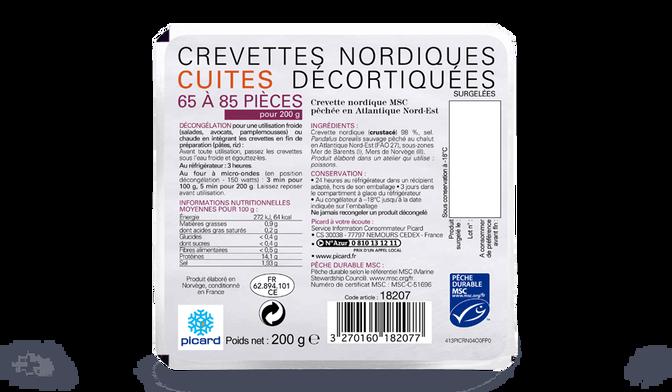Crevettes nordiques cuites décortiquées MSC