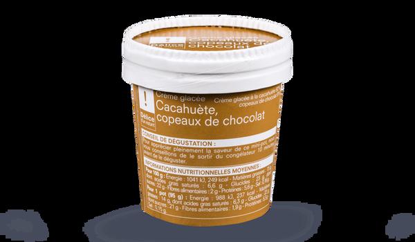 Crème glacée cacahuète-copeaux de chocolat