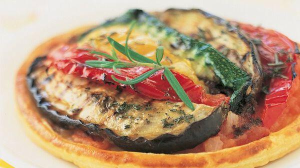 Tarte fine aux légumes grillés