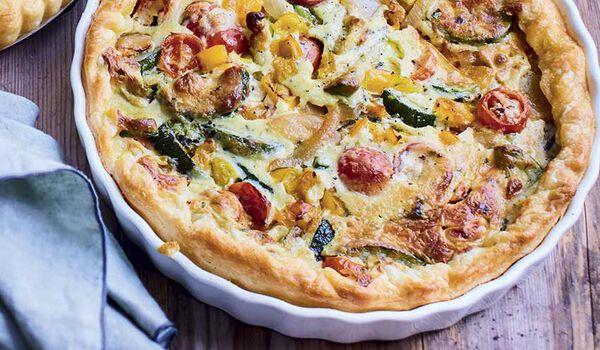Préparation pour tarte aux légumes du soleil