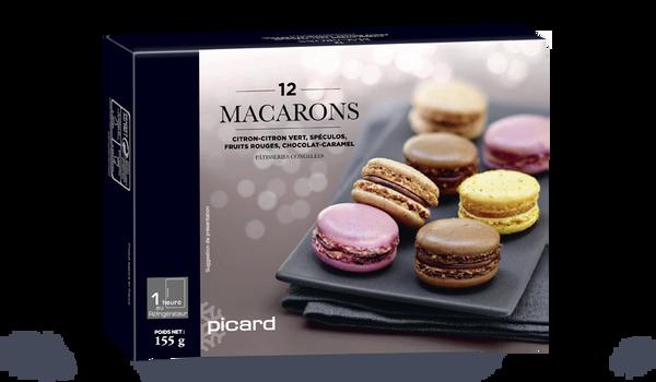 12 macarons,citron-spéculos-fruits rouges-chocolat