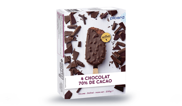 4 bâtonnets chocolat 70% de cacao-fèves de cacao