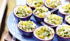 Tartare de d'églefin, fruits de la passion, pomme verte et ananas