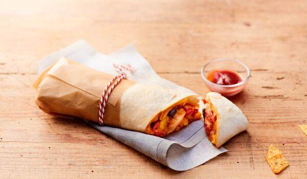 Texan burrito, tortilla de blé, sauce fajitas