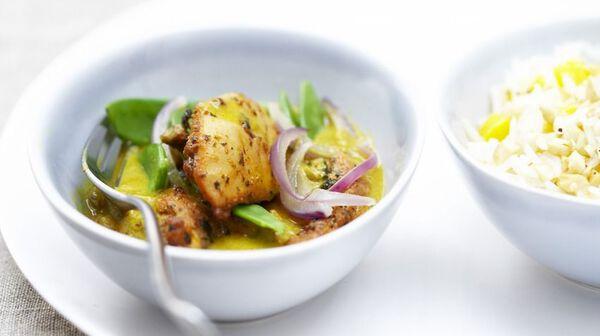 Curry de poulet express au lait de coco et riz à la mangue