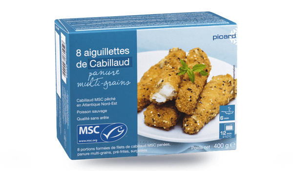 8 aiguillettes cabillaud MSC panure multi-grains
