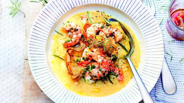Crème de pois chiches, crevettes à l'huile d'olive par Alba Pezone