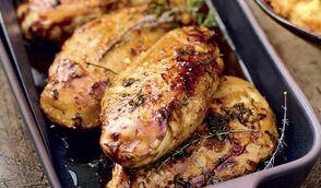 Filets de poulet fumés à la cocotte puis grillés, purée de patate douce et sauce au jus de citron