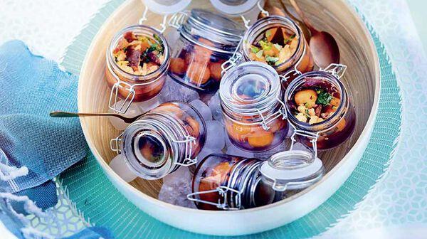 Verrines de melon au porto et chips de jambon