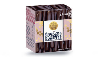 Ecorces d'orange confites enrobées de chocolat