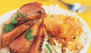 Magret de canard au chutney d'agrumes, riz à la coriandre